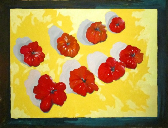 Tomatoes on Yellow oil on paper 115x90cm