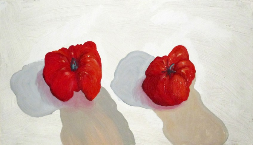 Two tomatoes Oil on board 46x81cm