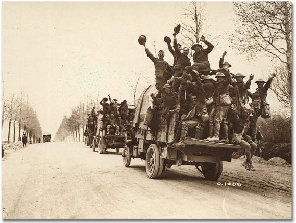 Canadians celebrating after fighting at Vimy [1918]