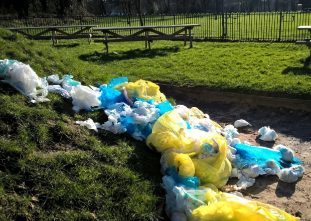 Nappies dumped in children's play area