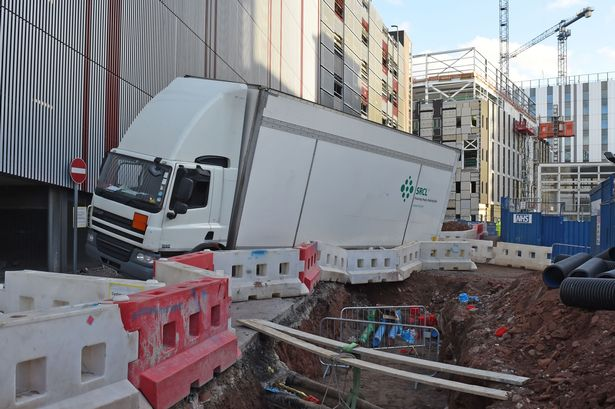 Clinical waste lorry nearly falls down hole at Royal Liverpool hospital