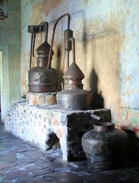 Antique distillation equipment at Cuervo museum
