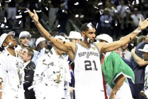 Tim Duncan celebrating the championship (click to enlarge or to source).