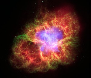 The Crab nebula: how it looks about a thousand years after the supernova star burst in 1054 AD (click to enlarge or to source).
