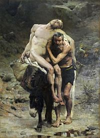 The Good Samaritan by Aime Morot (1880) shows the Good Samaritan taking the injured man to the inn. (Click to enlarge or to source).