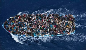 Refugees fleeing from Syria, packed dangerously like sardines in a can. (Click to enlarge or to source, then back-arrow to return to blog).