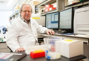 Dr. James Allison in his lab at the University of Texas MD Anderson Cancer Center in Houston. (Scott Dalton for NPR)