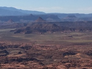 View of two pointed buttes called six-shooters. When lightning strikes a butte, I was told it looks like a gun firing.