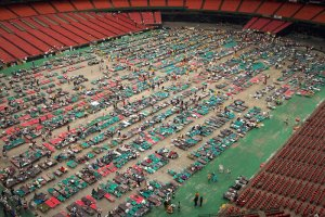 The Astrodome containing about 25,000 Katrina victims (click to enlarge or to source, and then back-arrow to return to blog article).