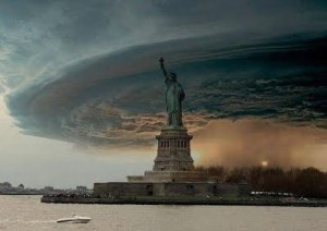 An ominous Hurricane Sandy entering New York in 2012.