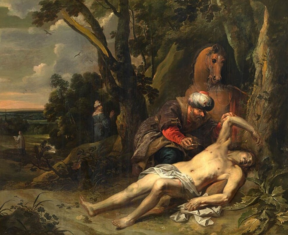 This image has an empty alt attribute; its file name is Good-S-2-1024px-Balthasar_van_Cortbemde_-_The_Good_Samaritan.jpg