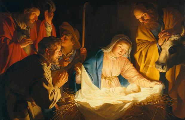 This image has an empty alt attribute; its file name is Jesus-Birth-the-adoration-of-the-shepherds-gerrit-van-honthorst.jpg