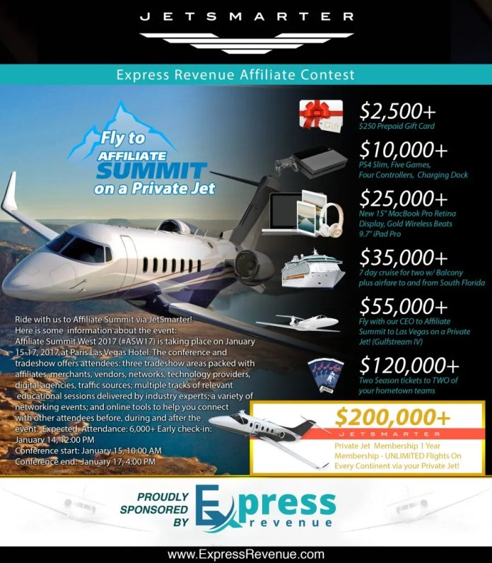 Catch a Private Jet to Affiliate Summit West by Just being an Affiliate