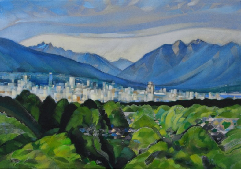 "mountains,city& trees .  28X40"".  $1500 . for sale"