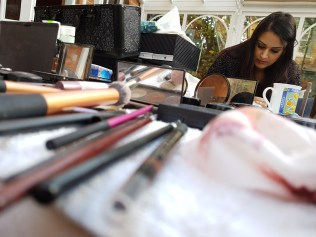 Sonya Kaur MUA surrounded by the tools of her trade.