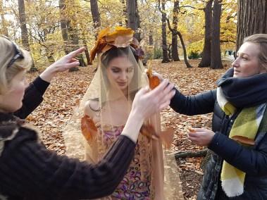 Dark Beauty, woodland scene fashion shoot preparations