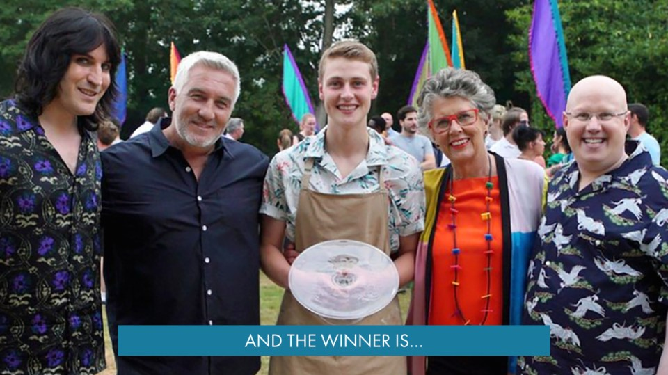 Peter Sawkins with his Trophy and the stars of the Great British Bake Off