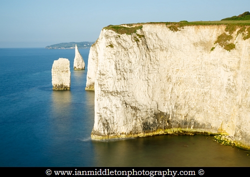 Morning light at Old Harry Rocks, at Handfast Point on the Isle of Purbeck, Jurassic Coast, Dorset, England. A UNESCO World Heritage Site