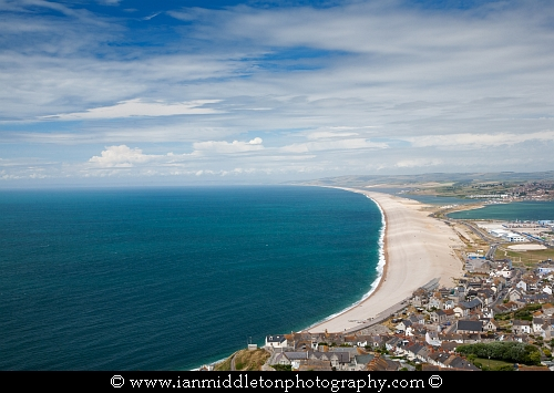 View across Portland, Chesil Beach & Weymouth harbour, Jurassic Coast, Dorset, England.
