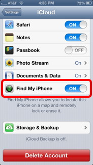 Find My iPhone Settings