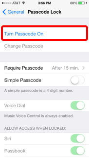 how to turn off passcode on iphone 4