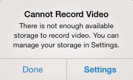 No Storage Available