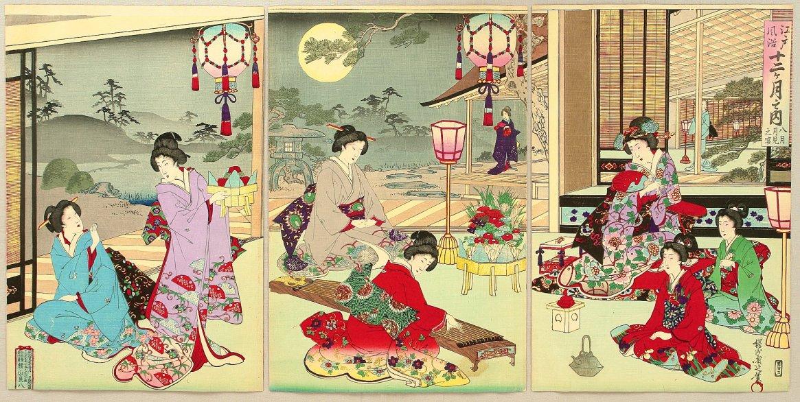 Αύγουστος. Έργο του Τογιοχάρα Τσικανόμπου 豊原周延 (1838–1912)
