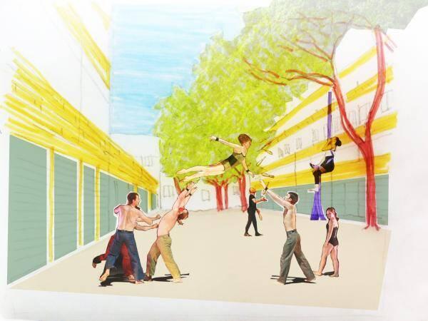 Artist's impression of new use of unused public spaces. Copyright via Sofia Croso Mazucco.