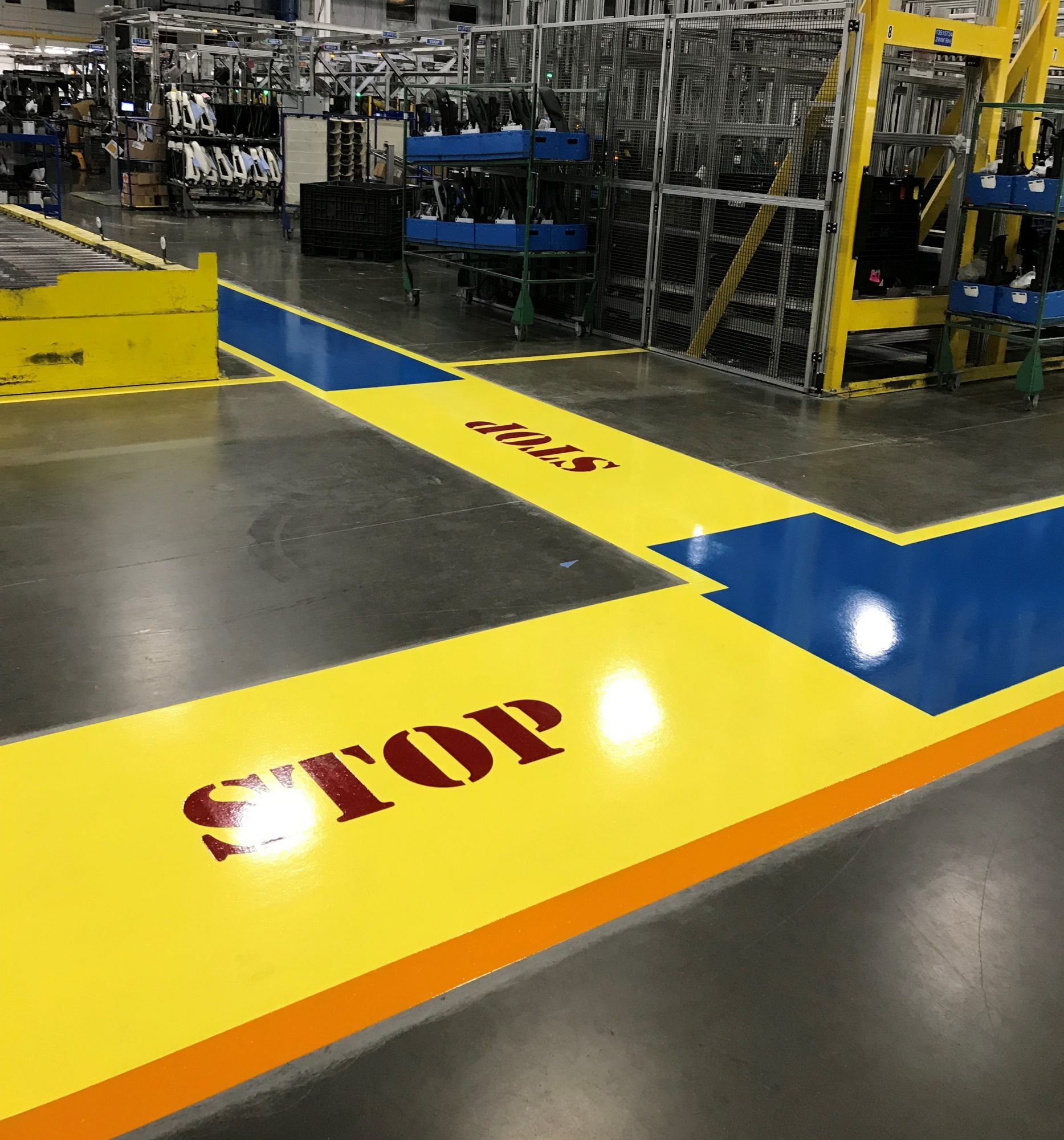 safety striping, 5S, epoxy floor coatings, aisle coatings, epoxy coatings