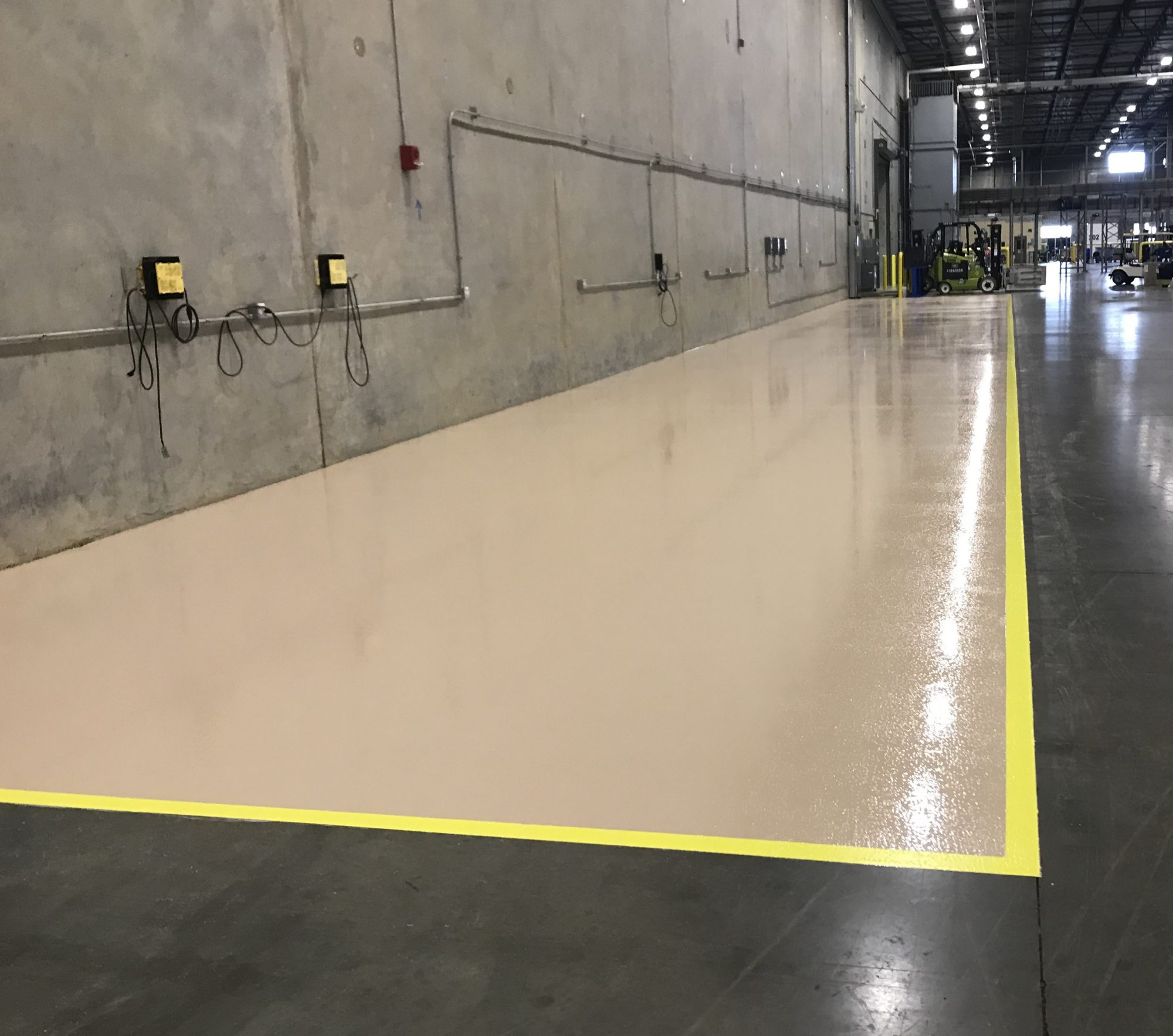 epoxy line striping, battery charging area epoxy floor coating, safety striping
