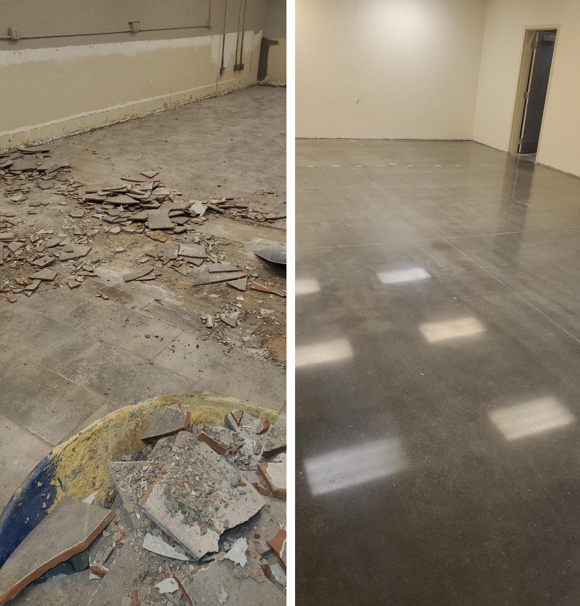 Demo work, breakroom polish, surface preparation, polished concrete, polish concrete, Industrial Applications, Inc. IA30yrs, TeamIA