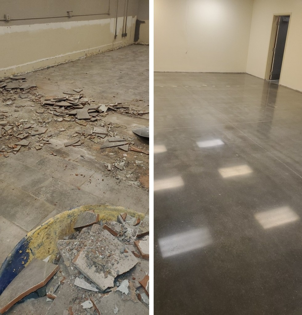 Demo work, breakroom polish, surface preparation, polished concrete, polish concrete, Industrial Applications, Inc. IA30yrs, TeamIA