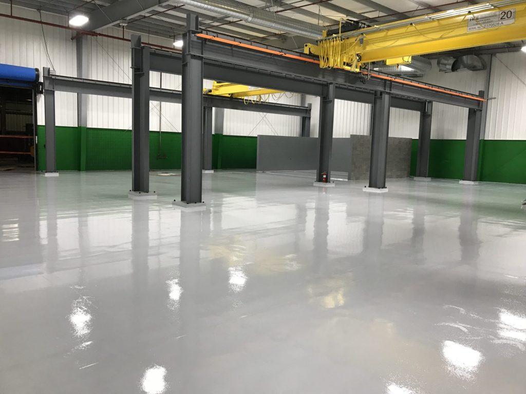 epoxy floor coatings, epoxy mortar, floor pitched to drain