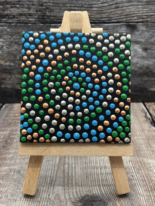 Groene cirkel dot painting IbbelDibbel