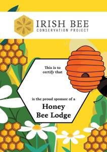 Adopt a honey bee lodge certificate