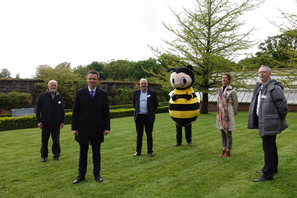 Minister for the Office of Public Works and Flood Relief, Patrick O'Donovan with members of Irish Bee Conservation Project at the launch of the Pollinator Trail in Fota House, Gardens and Arboretum