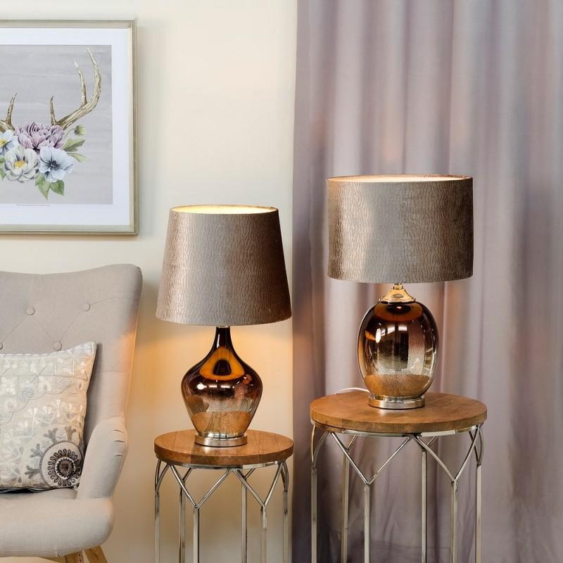 Lmpara mesa de cristal color platacobre 61 cm  Ibele Home
