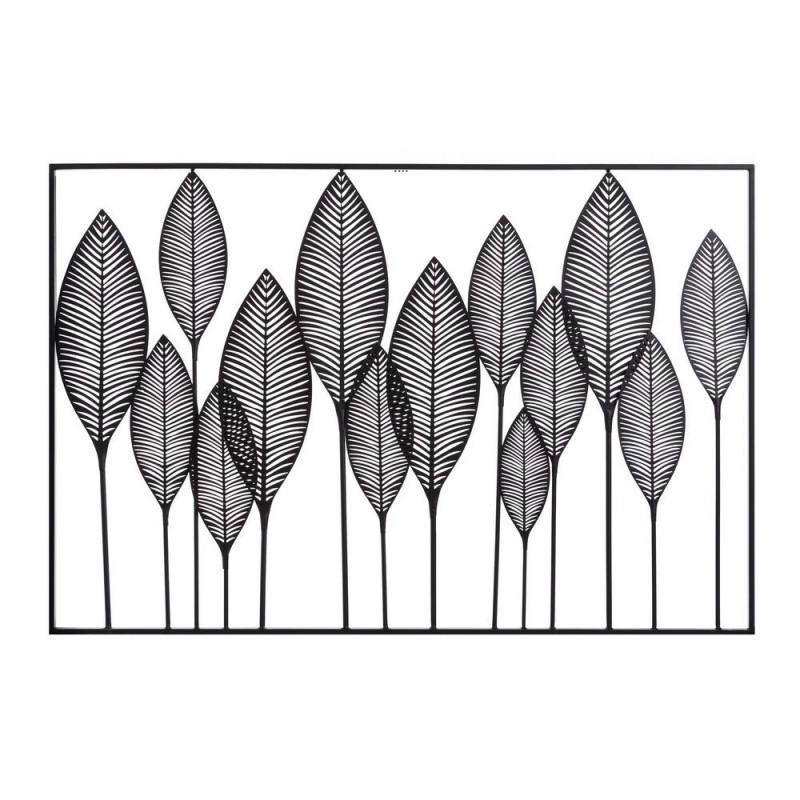 Mural metal nature hojas negro 121 x 81 cm horizontal
