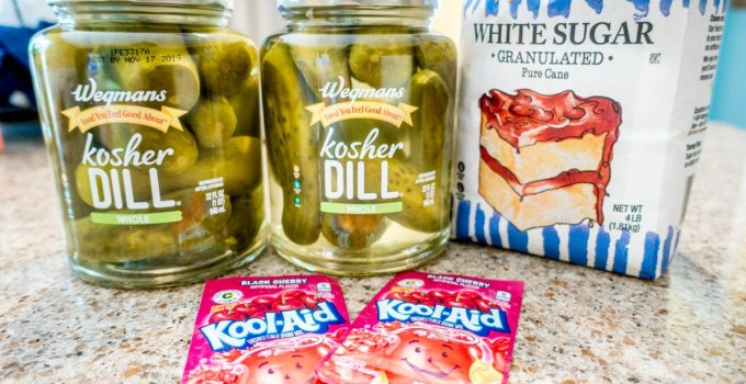 Ingredients for making koolickles, Kool-aid-soaked dill pickles