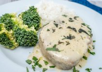 Try these easy slow cooker pork chops with cream of mushroom soup and ranch spices