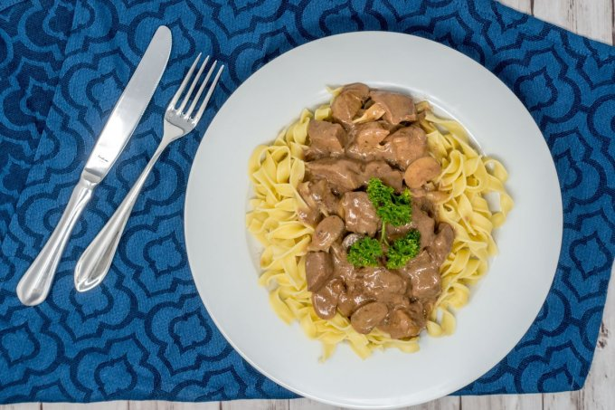 Beef tips and gravy over noodles makes for a filling dinner