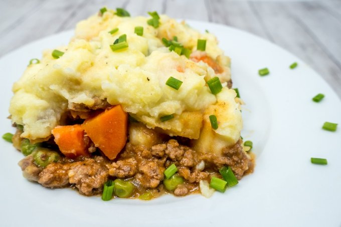 Shepherd's pie with beef is a simple, filling dish with lots of vegetables