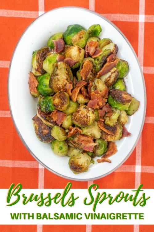Brussels sprouts with bacon and balsamic vinaigrette is a savory side dish that will convince people who think they don't like Brussels sprouts