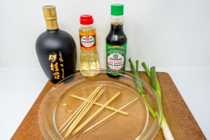 Chicken yakitori ingredients, including sake, mirin, and soy sause
