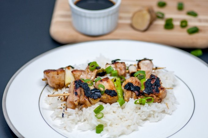 This chicken yakitori recipe includes chicken thighs, scallions, and a delicious homemade yakitori sauce