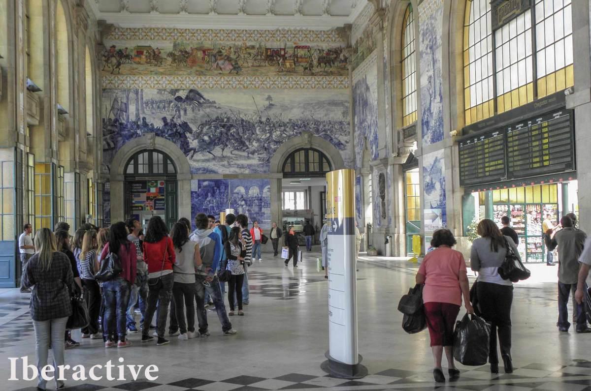 Hand painted tiles at São Bento train station, Porto, Portugal