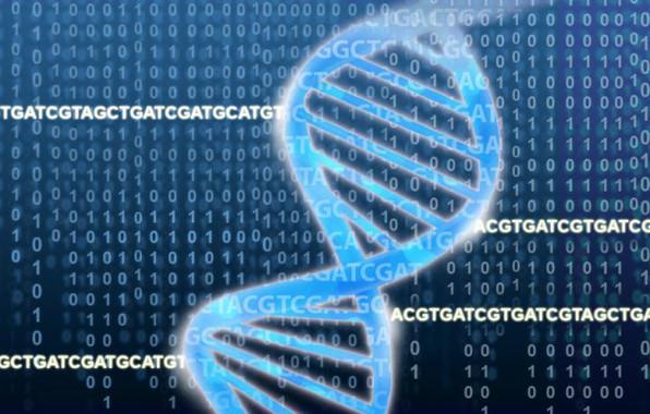 <p>La doble hélice de ADN sobre bases nitrogenadas y números binarios. / Jonathan Bailey, National Human Genome Research Institute</p>
