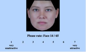 """Pantallazo del experimento online """"Rate That Face"""""""