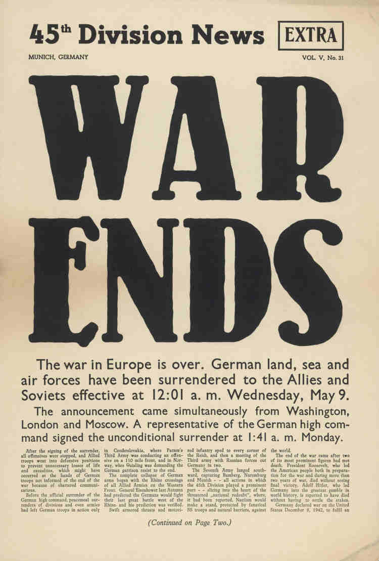 45th Division News Extra: War Ends