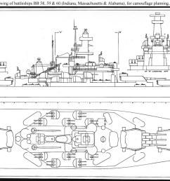 usn ship types south dakota class bb 57 through 60 naval battleship diagram  [ 1500 x 680 Pixel ]